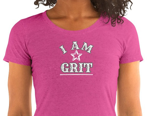 Ladies' short sleeve t-shirt with our Grit design.