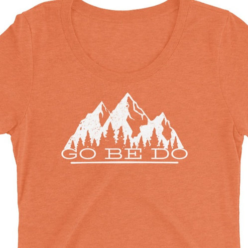 Ladies' short sleeve t-shirt with our GO BE DO design.