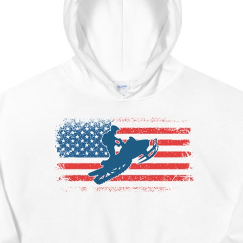Hoodie with our snowmobile design.