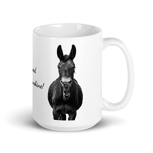 Our large 15 oz mug with our adorable mule and a morning greeting!