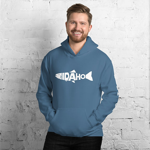Comfy hoodie with our custom Idaho fishing design on the front and left arm.