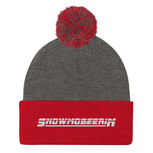 Pom-Pom Beanie with our custom Snowmobeerin design on the front.