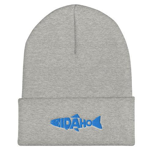 Cuffed Beanie with our custom Idaho fish design.
