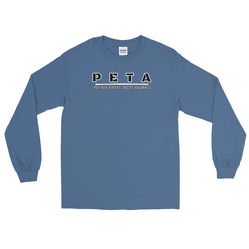 Unisex long sleeve tee with our PETA design on the front.
