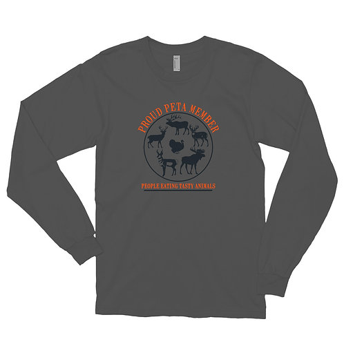 Long sleeve t-shirt with our PETA design.