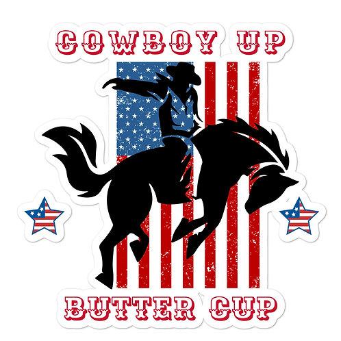 Custom sticker with our Cowboy Up design.