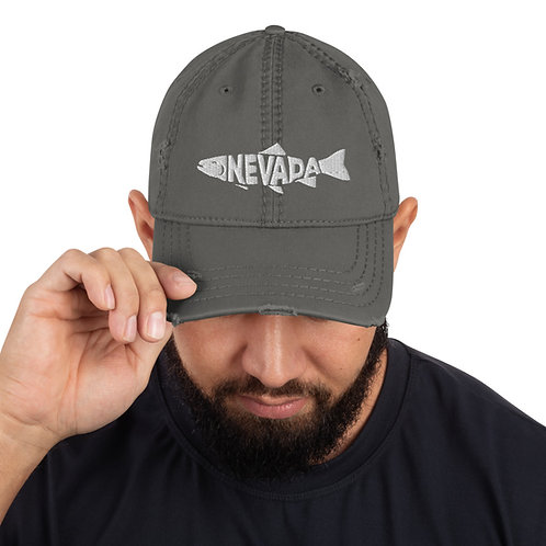 Distressed Dad Hat with our custom Nevada fish!