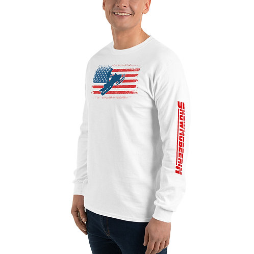 Long sleeve tee with our patriotic snowmobile design.