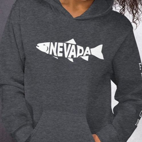 Comfy hoodie with our custom Nevada fish design on the front and left sleeve.