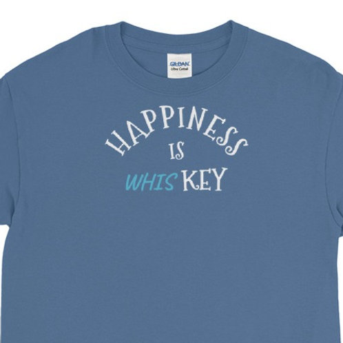 Long sleeve tee with Happiness is whisKey design.