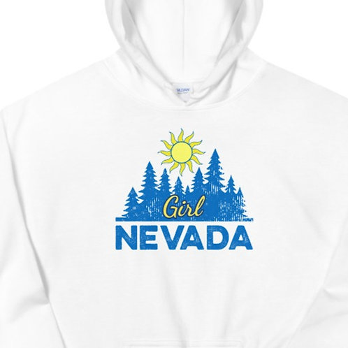 Hoodie with our custom Nevada Girl design.