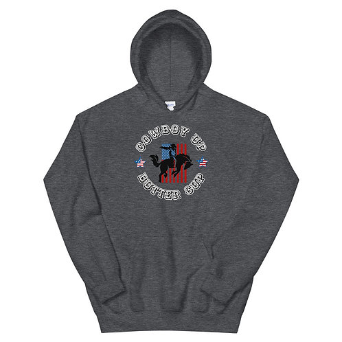 Hoodie with our Cowboy Up design.