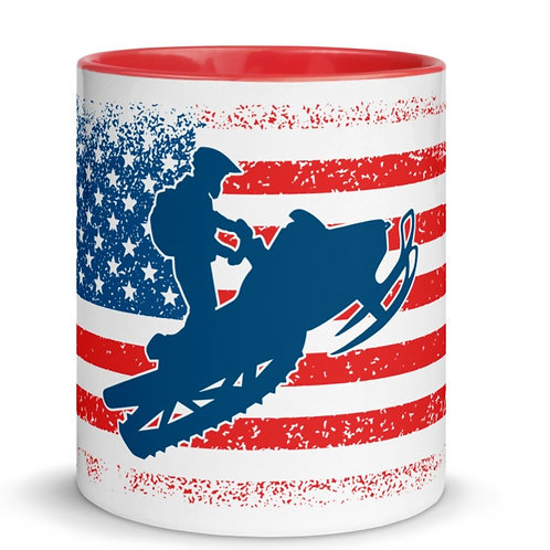 Mug with red & our snowmobile design.