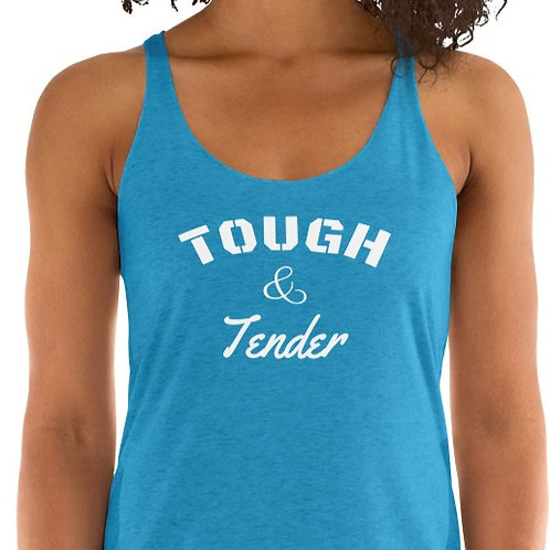 Women's Racerback Tank with our Tough & Tender with Fearless on back.