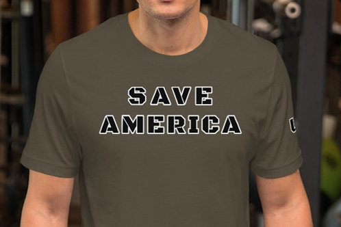 Short-Sleeve Unisex T-Shirt with SAVE AMERICA on the front and USA on the sleeve