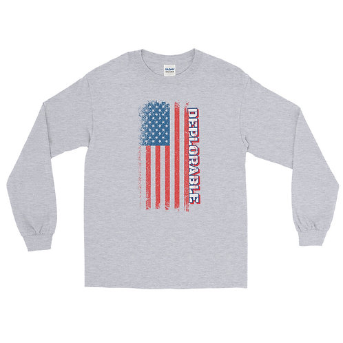 Long sleeve Tee with our patriotic Deplorable design.