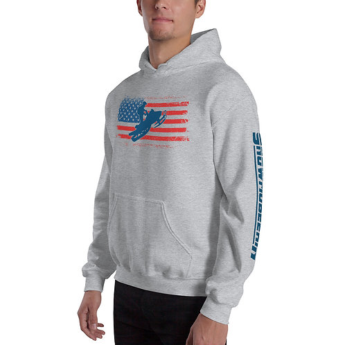 Unisex Hoodie with our custom snowmobile design.