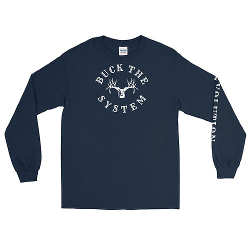 Long sleeve tee with Buck The System and Revolution on the front & sleeve.