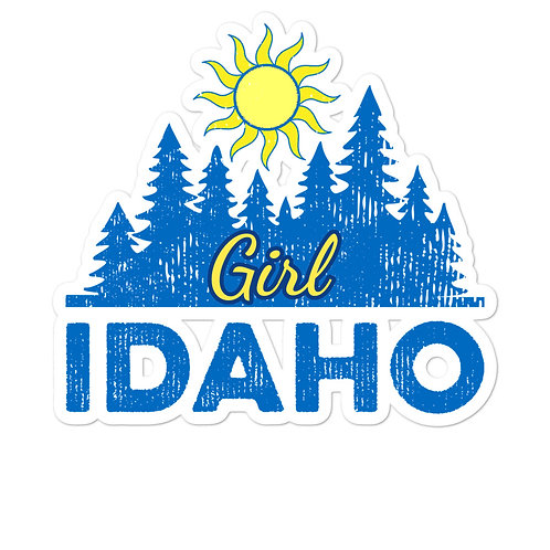 Bubble-free sticker with our custom Idaho Girl Design.