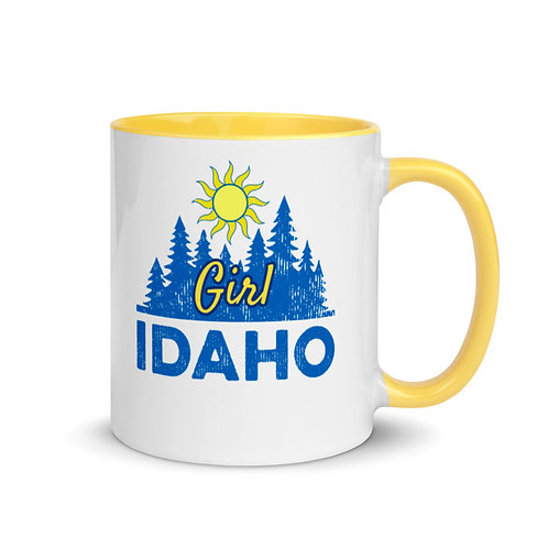 Colorful mug with our custom Idaho Girl design.