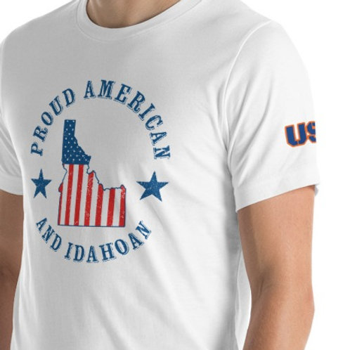 Short-Sleeve Unisex T-Shirt with our Idaho design on the front.