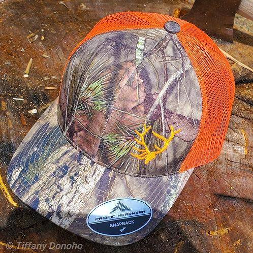 CAMO & BRIGHT ORANGE Mesh Trucker Hat