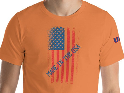 Unisex tee with our custom Made In America design.