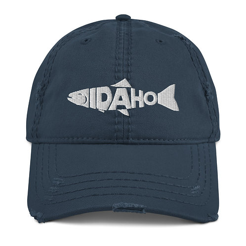 Distressed Dad Hat with our custom Idaho fish design!