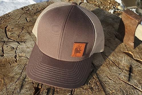 Elk leather patch snapback trucker