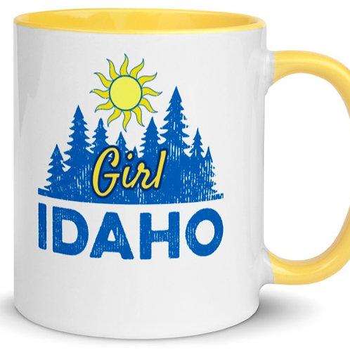 Colorful mug with our custom Idaho Girl design.