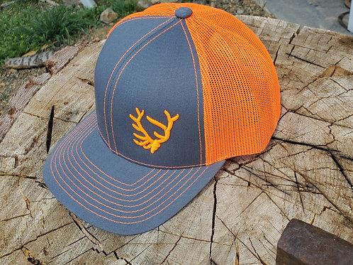 Blaze Orange Embroidered Bull Elk European Mount