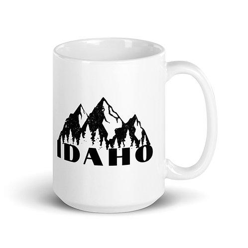 White glossy mug with our Idaho design.