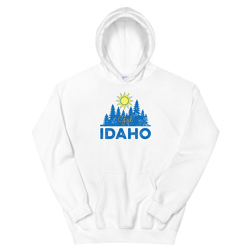 Unisex Hoodie with our custom Idaho Girl design.