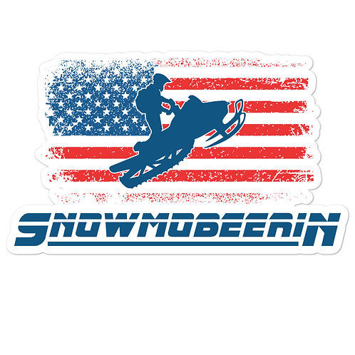 Custom sticker with our Snowmobeerin' flag design.