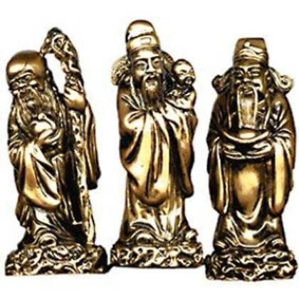 3 Men harbinger of Good Fortune  - Gold