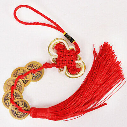 5 Coin Hanging Charm With Red Tassel - Brass