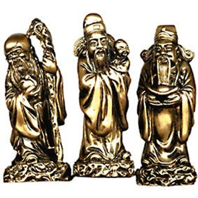 3 Men harbinger of Good Fortune  - Gold