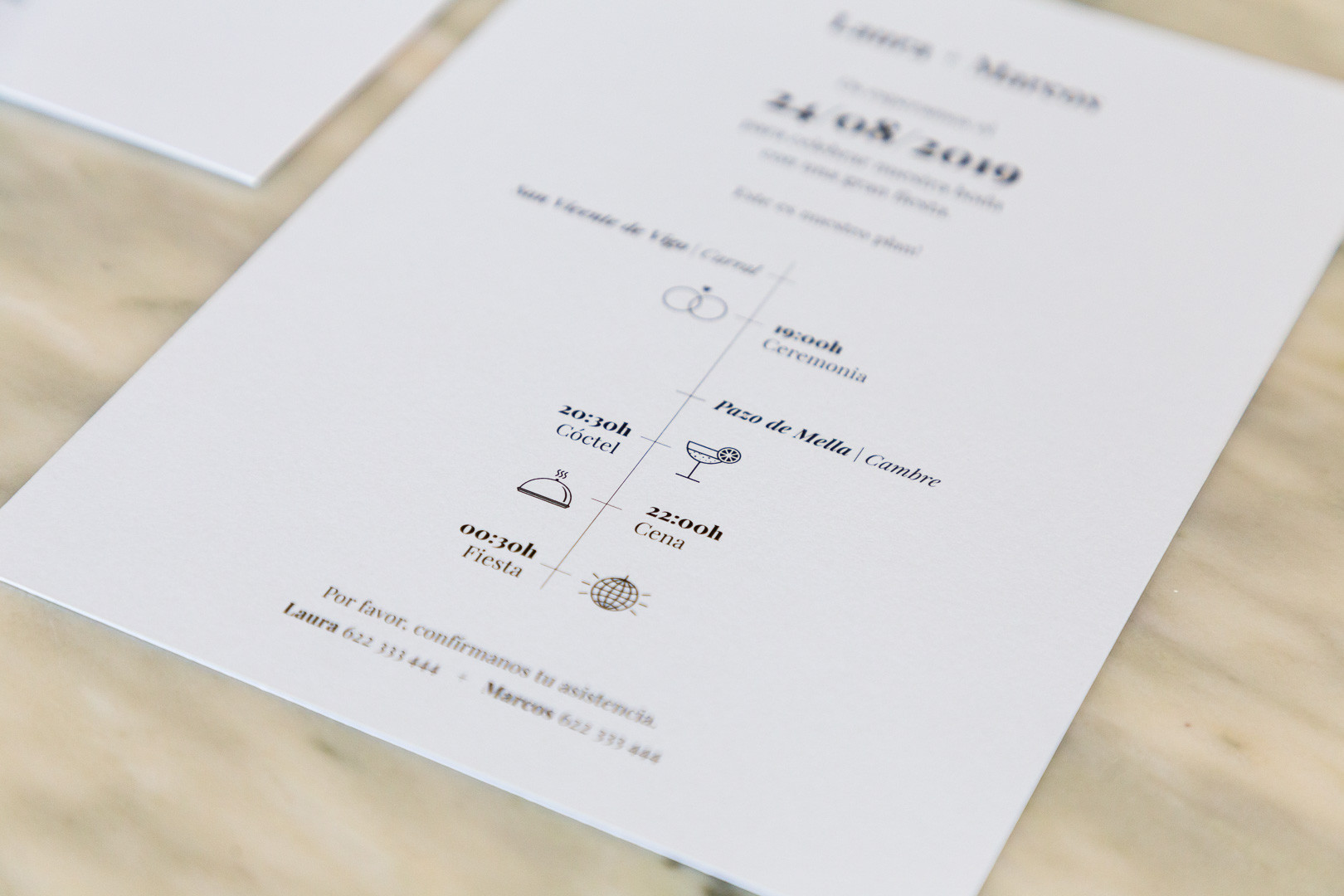 invitaciones de boda, invitacións de voda, invitación minimalista, invitación elegante, estudio de invitaciones de boda, invitaciones de boda en Santiago