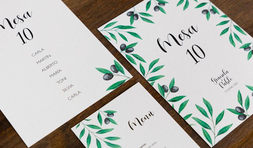invitaciones de boda, invitación de olivo, invitaciones de boda en Santiago
