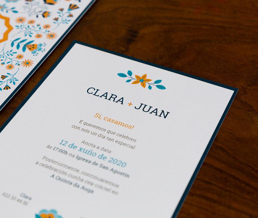 invitación de boda, invitación de voda, invitaciones originales, invitación estilo nórdico, invitación con flores geométricas, invitación diferente, estudio de invitaciones en santiago de compostela
