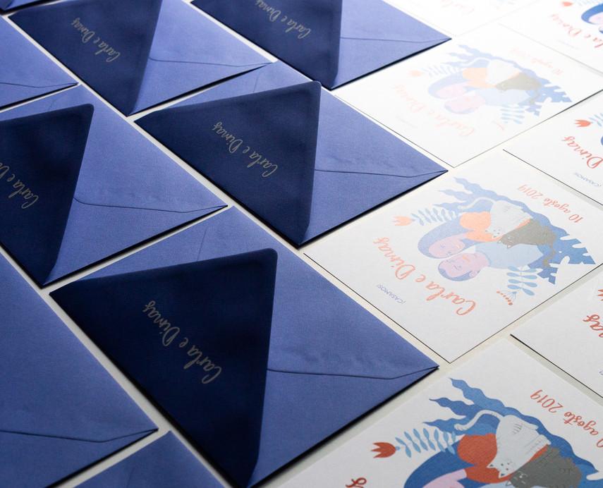 sobres de boda personalizados, sobres serigrafiados, sobres de colores