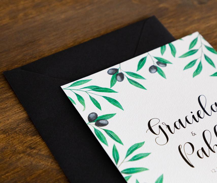 invitaciones de boda, invitacións de voda, invitación de olivo, invitaciones de boda en Santiago