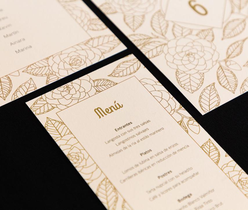 minuta, .jpginvitación de boda, invitacións de voda, invitación floral, invitación camelia, invitación elegante, estudio de diseño gráfico en Santiago