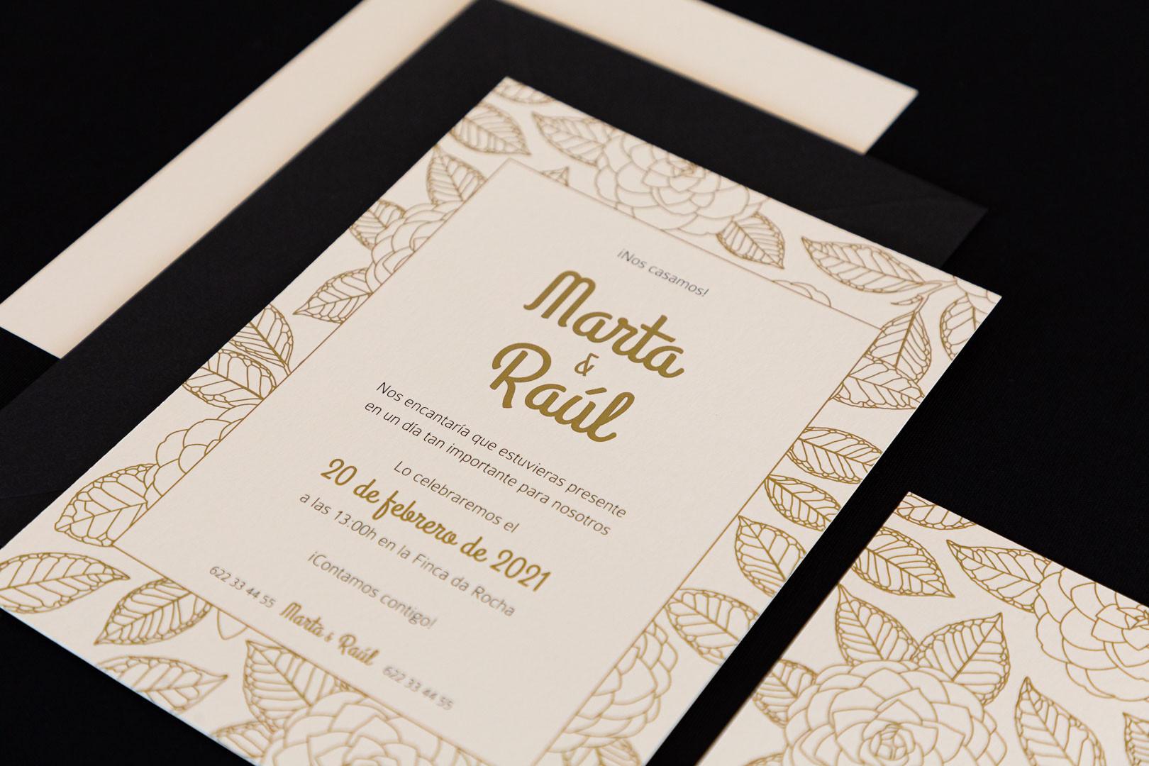 invitación de boda, invitacións de voda, invitación floral, invitación camelia, invitación elegante, estudio de diseño gráfico creativo