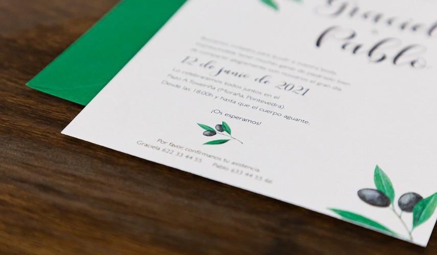 invitaciones de boda, invitación de olivo, invitacións de voda, invitaciones de boda en Santiago