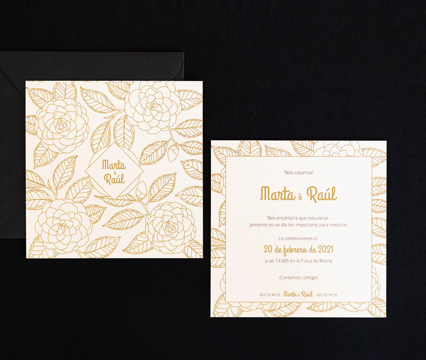 .jpginvitación de boda, invitacións de voda, invitación floral, invitación camelia, invitación elegante, estudio de diseño gráfico en Santiago, invitación cuadrada
