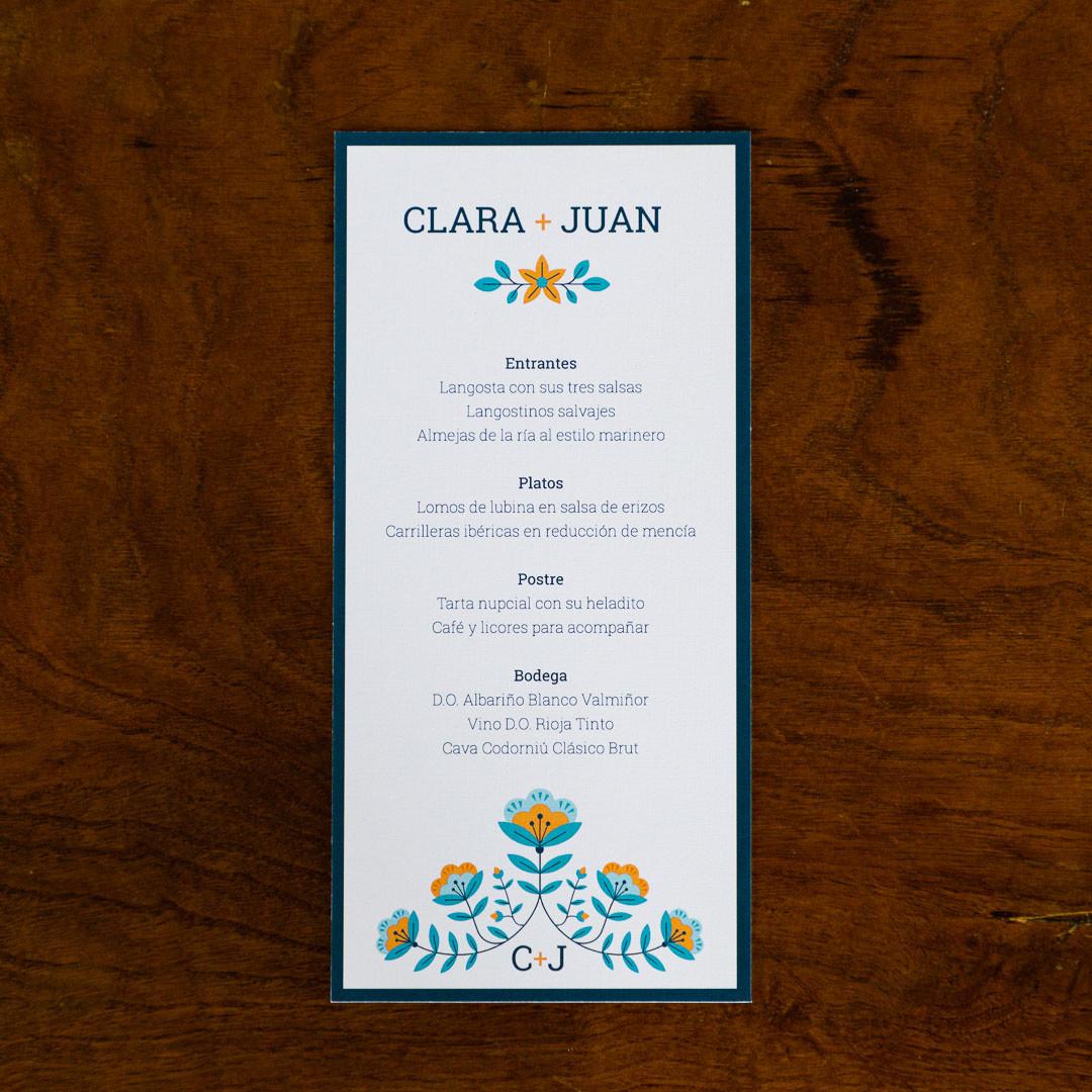 minuta, invitación de boda, invitación de voda, invitaciones originales, invitación estilo nórdico, invitación con flores geométricas, invitación diferente, estudio de invitaciones en santiago de compostela