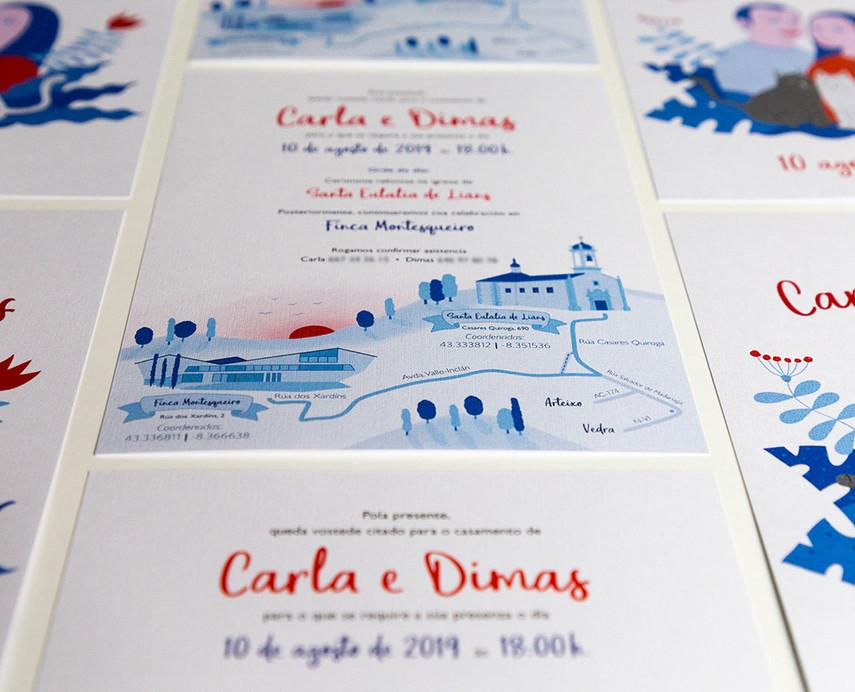 invitacións de voda orixinais, invitaciones de boda creativas, invitación con plano de llegada