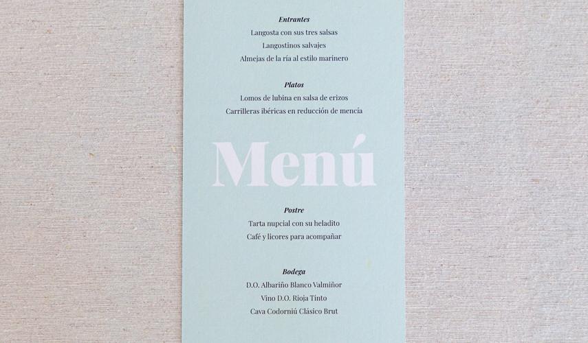 minuta, invitación de boda, invitaciones de boda en Santiago de Compostela, invitaciones creativas, invitación minimalista, invitación con colores pastel