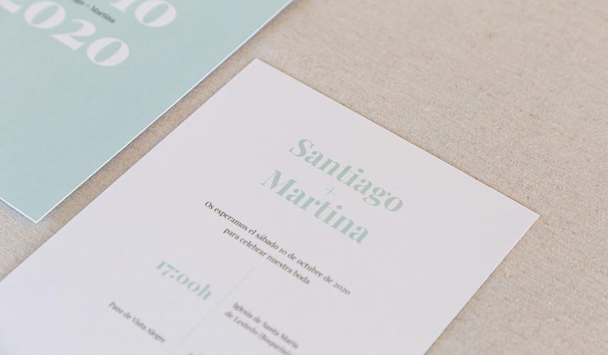 invitación de boda, invitaciones de boda en Santiago de Compostela, invitaciones creativas, invitación minimalista, invitación con colores pastel